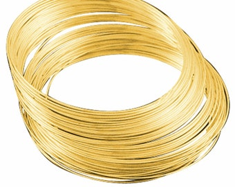 50 Circles Gold Finish Stainless Steel Memory Wire 5.5cm 1m thickness-9406