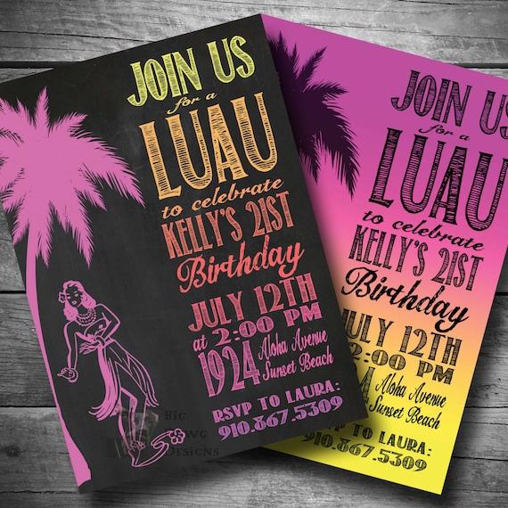 Luau Birthday Invitation Hawaiian Themed Party Invite