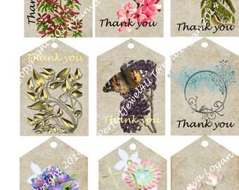 Digital Download Thank You Tags Botanicals  Medium Printable Scrapbook
