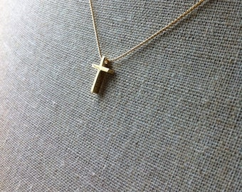 Small golden cross necklace