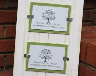 Picture Frame - Holds 2 - 4x6 Photos - Distressed Wood - Smooth Wood - White & Asparagus Green