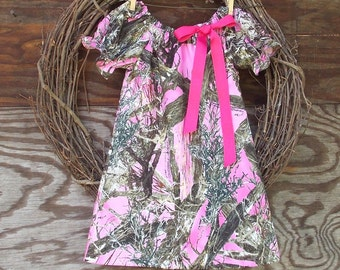 Girls Pink Camo Dress, Camo Peasant Dress, Camouflage dress, Kids Camouflage dress, Kids Pink Camouflage
