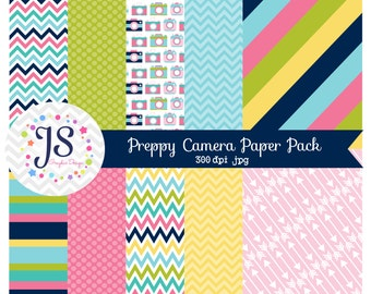 INSTANT DOWNLOAD, preppy camera digital paper for commercial use or personal use