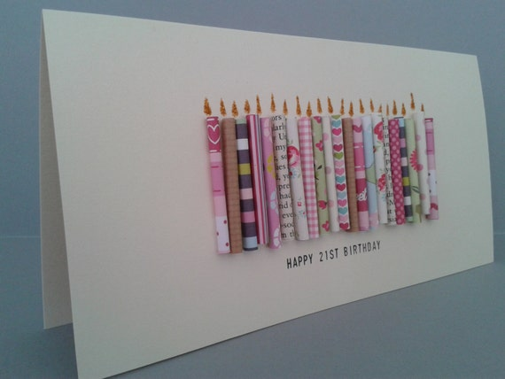 Happy 21st Birthday Candle Card with 21 paper candles, Female. Can be Personalised. Can be Customised to 22,23,24,25,26,27,28,29.