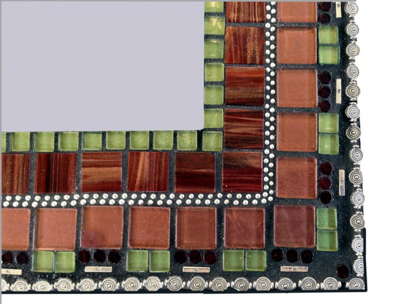 Bronze Wall Mirror: Mosaic Wall Mirror In Bronze Maroon Green And Silver Wall