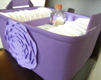 """Ex Large-Diaper Caddy-14""""x 10""""x 7""""(choose Colors)Two Dividers-Fabric Storage Organizer -Baby Gift-""""Lavender Rose on Purple"""""""