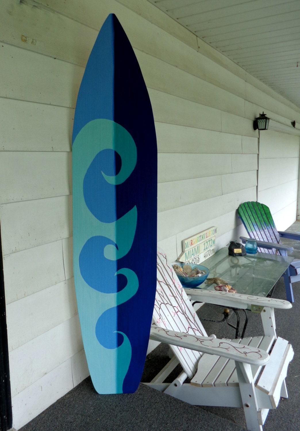 6 foot wood hawaiian surfboard wall art decor or headboard for Surfboard decor for bedrooms