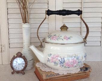White Enamel Kettle w/Floral Pattern - Vintage Garden Planter - Indoor/Outdoor