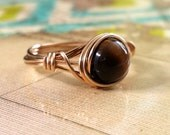Tiger Eye Ring, Wire Wrapped Ring, 14kt Gold-Filled Bridal Party Jewelry, Gemstone Ring