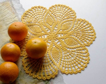 SALE 25% OFF: Pineapple crochet doily Yellow round doily Handmade linen crosceted doilies Lace doily Yellow crochet doilies 194