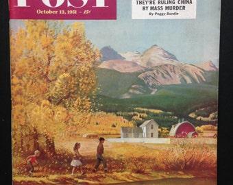 The Saturday Evening Post magazine - October 13, 1951 - Cover Illustration John Clymer -