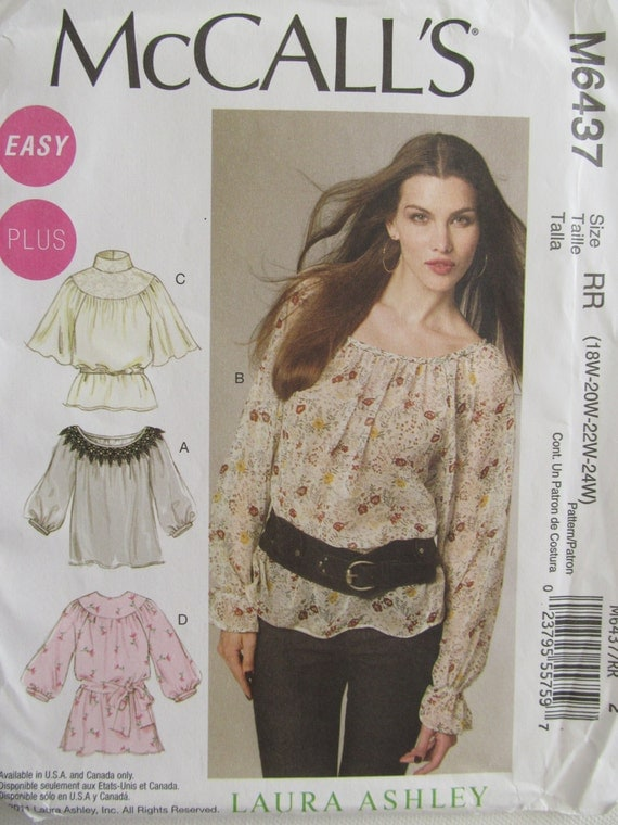 McCall's 6437 Sewing Patterns Plus Size Blouses Tops Laura Ashley Spring Summer
