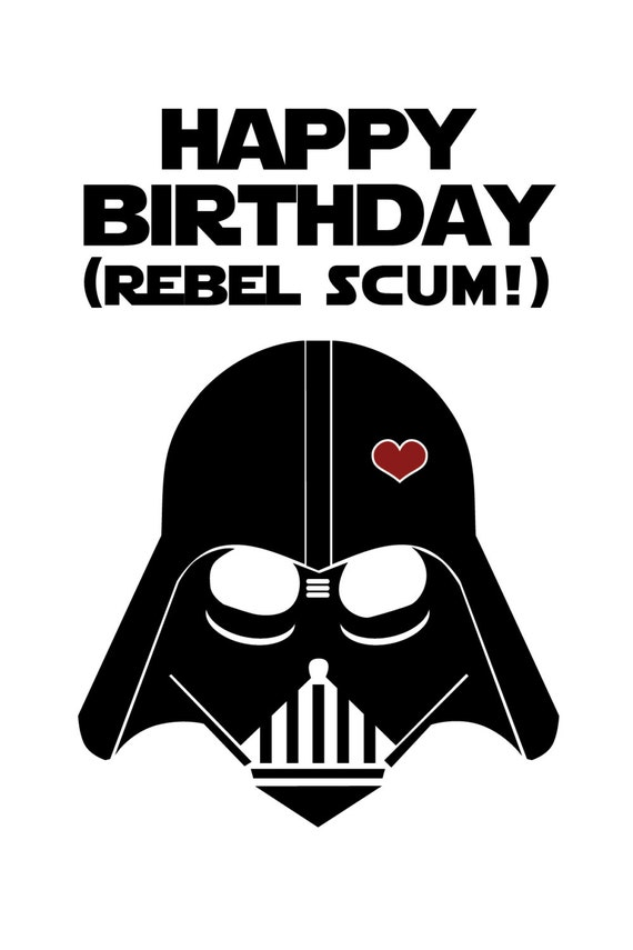 Slobbery image in printable star wars birthday cards