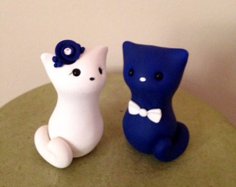 Meow Kitty with tails Custom Wedding Cake Topper
