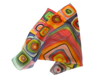 Rainbow hand painted silk scarf .Green, red and salmon, orange and blue silk scarf. Gift under 50.  Made to order.