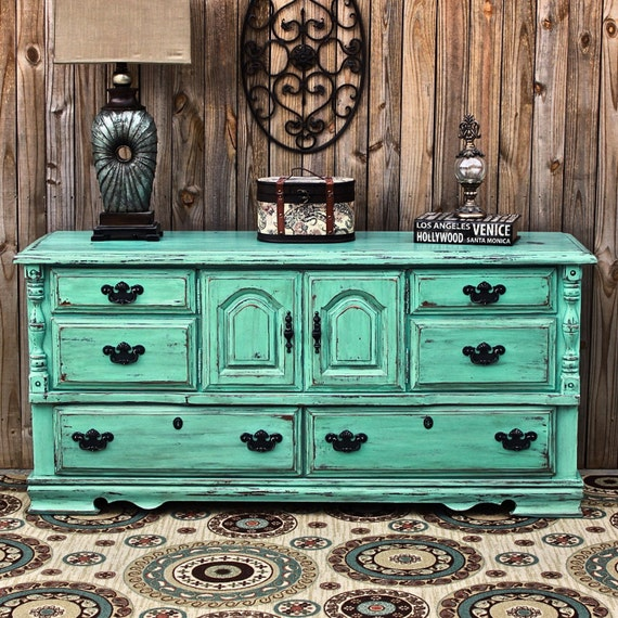 Aqua Dresser Vintage Rustic Wood Furniture By