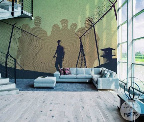 Items similar to the walking dead wall mural on etsy for Mural walking dead