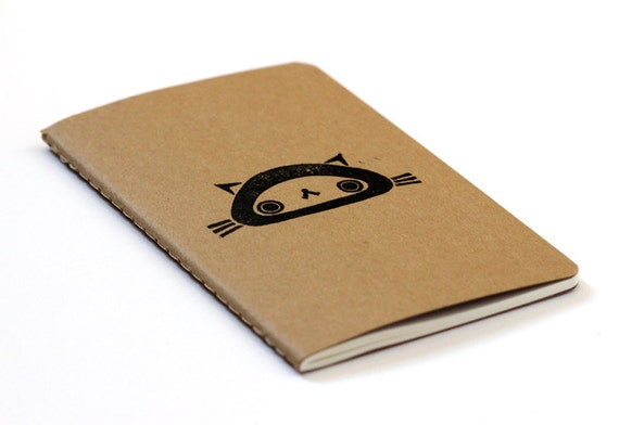 Cute Moleskine notebook Cat - Handstamped with cute character illustration - A6 / small