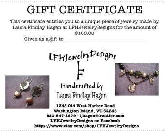 Gift Certificate 100.00 Dollars