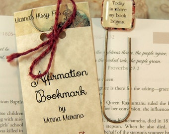 Positive Saying Affirmation Bookmark Gift for Newlyweds Teen Moms Friends Paperclip Bookmark Today is where my book begins