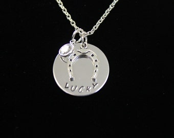 Lucky Horseshoe Hand Stamped Necklace with Swarovski Crystal Drop
