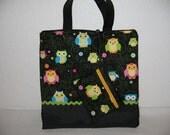ZIPPER CLOSURE / Crazy Owls Tote / matching zipper pouch
