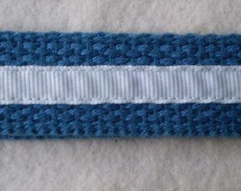 White Ribbon on Blue Keychain Wristlet