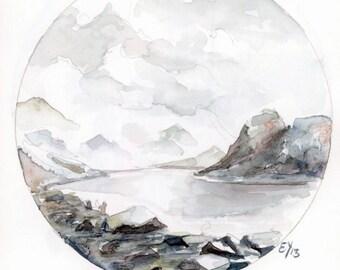 Mountain view -Fine Art print of my original illustration