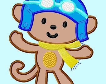 Cute Monkey Pilot APPLIQUE Embroidery Design 4 sizes INSTANT DOWNLOAD