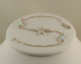 Anklet with a Sterling Silver Sea Life Charm and White Opals