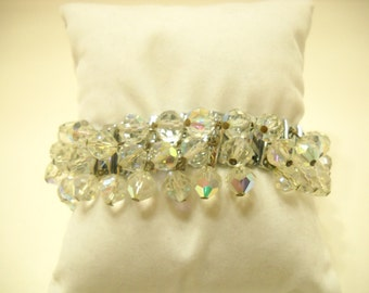 Vintage Austrian Crystal Stretch Bracelet (1886) Gorgeous!