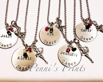 Hand stamped personalized Dance necklace, ballet, jazz, dance team, dancers gift, gifts or dancers,