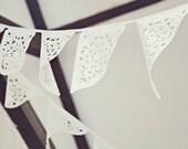 White wedding garland. lace bunting