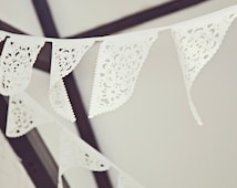 White wedding garland. lace bunting