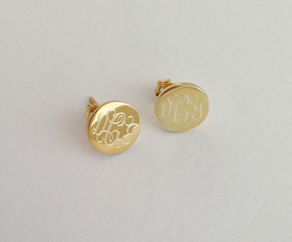 gold monogram stud earrings personalized jewelry for