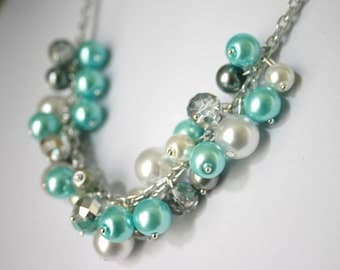 Robin's Egg Blue + Gray Pearl Cluster Necklace - Handmade (customizable!) Women's Necklace