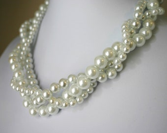Classic 3 Strand Braided Pearl Necklace - 3 sizes (6 8 & 10 mm) - Bride Bridal Bridesmaid Flower Girl Wedding Jewelry