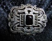 "Vintage 1 1/2"" x 1 1/4"" Pin, Sterling Silver, Marcasite, And Black Onyx Like Stone"