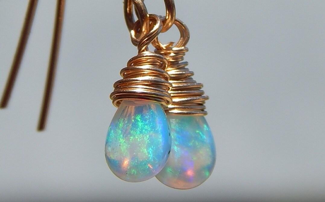 opal earrings genuine opal earrings wire wrapped opal
