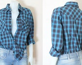 Long Sleeved, Vintage Style, Plaid, Cotton Fabric Shirt.