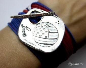 Freedom Jewelry, Flag Bracelet, Silk Wrap Bracelet, USA, Hero Wrap, July 4th