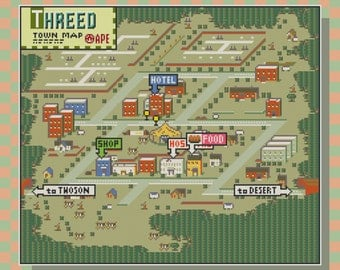 Earthbound/Mother 2 Threed Town Map Cross Stitch Pattern