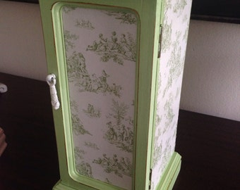 Vintage Hand Painted Jewelry Box Decoupaged Green Toile
