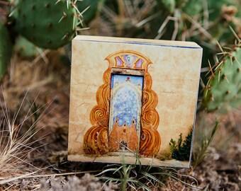 Wood Photo Block, New Mexico Art, Travel Photography, Door, Santa Fe, Wall Decor, Photo, Ready to Hang