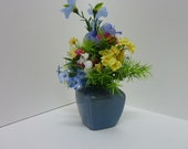 Floral Arrangement, Silk Floral Arrangement of a Floral Bouquete in a Tiny Sky Blue Ceramic Vase.