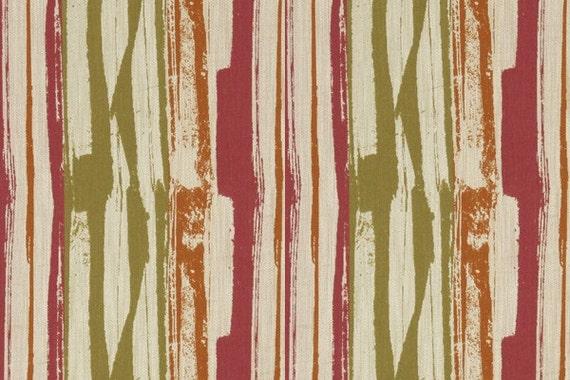 Orange ikat fabric upholstery yardage pink green orange fabric by