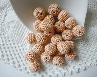 12 pcs- 13 mm beads-crocheted bead-salmon beads-round beads-crochet ball beads-beads crochet-embellishment-wooden crochet cotton yarn beads
