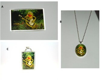 Kermit the Frog Glass Pendant Necklace Muppets Rainbow Connection Movie Choice of Images
