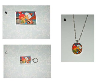 The Flintstones Pebbles and Bam Bam Keychain or Magnet or Necklace