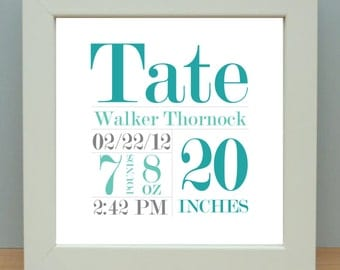 Personalized, Nursery Art, Baby Stats, Birth Announcement Wall Art